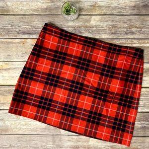 J Crew Factory Red Wool Tartan Plaid Mini Skirt